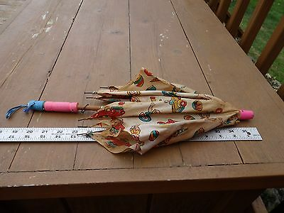 Antique Doll Umbrella Parasol with Monkey Clown Fabric, Needs Work