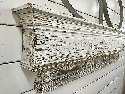 Two-Tiered Fireplace Mantle, Distressed Mantle, Primitive Mantle, 36 inch mantle