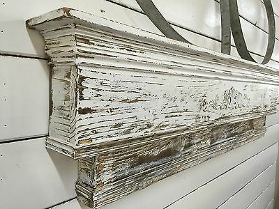 Two-Tiered Fireplace Mantle, Distressed Mantle, Primitive Mantle, 48 inch mantle