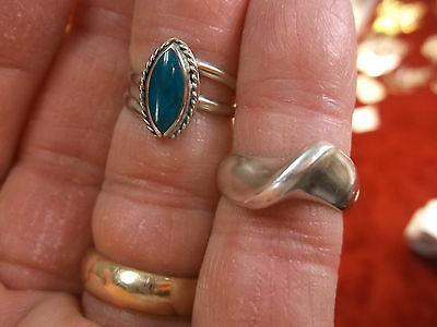 "Very Nice Pair Of Old Vtg Ladies Sterling Silver Rings, ""Cellini,"" Blue Crystal?"