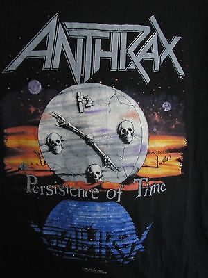 ANTHRAX 1990 Persistence of Time vintage licensed concert tour t shirt LG NEW