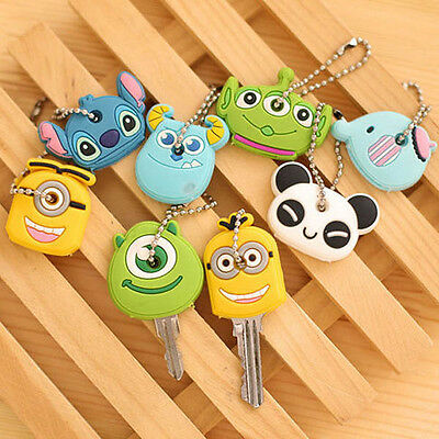 Cartoon Cute Key Ring Chain Cover Top Head Cap Keyring Bags Phone Keychain Strap