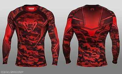 Venum Men's Camo Hero Compression Long Sleeve Shirt Red Small