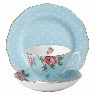 NEW Royal Albert Polka Blue 3-Piece Tea & Cake Set