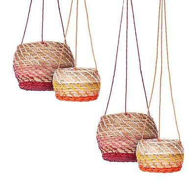 NEW Soundslike HOME Natural Two Tone Round Hanging Basket (Set of 2)