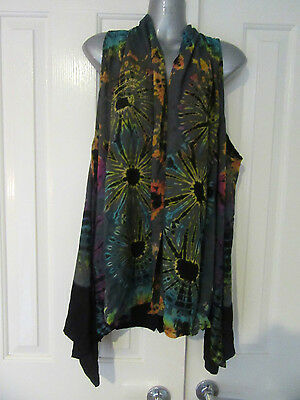 NEW Tie Dyed Grey Rainbow Vest Draped Crossover Dress Top Layering OS