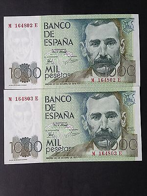 Spain 1000 Pesetas P158 2 x Consecutive Notes Dated 23rd October 1979 aUNC