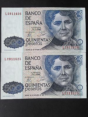 Spain 500 Pesetas P157 2 x Consecutive Notes 23rd October 1979 Uncirculated UNC