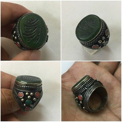 Men's Islamic Ring GREEN AGATE Stone Afghan Quran Engraved Intaglio 8 عقيق أخضر • CAD $33.96