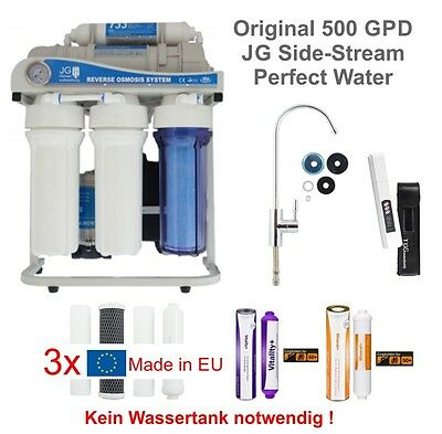 Osmoseanlage JG Sidestream 500 GPD direct-flow Wasserfilter Perfect Water