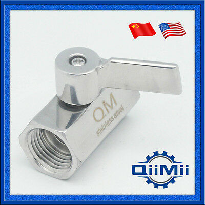 "New 1/2"" Stainless Mini Ball Valve With Stainless Handle, Female Thread SS304"
