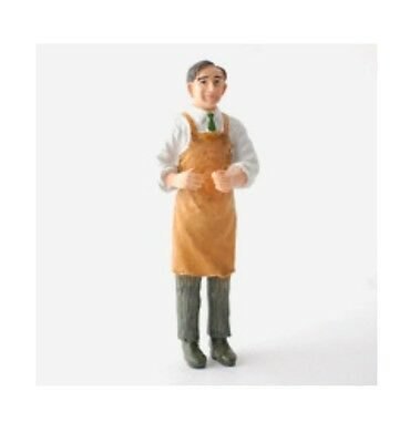 Dolls House Resin Figure of Man wearing apron : 12th scale Handyman / Shopkeeper