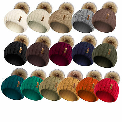 Ladies Womens Winter Knitted Beanie Ski Hat Detachable Faux Fur Bobble Pom Pom