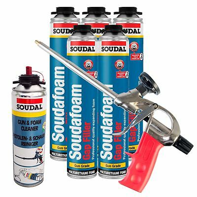 Expanding Foam Kit PU Polyurethane Professional Gun 5 x Cans 1 x Cleaner Kit 2