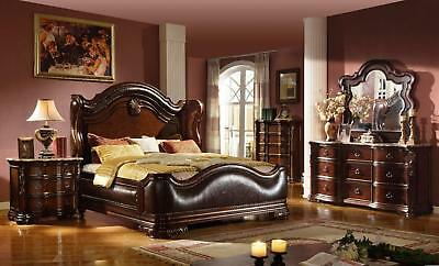Mcferran B3000 Traditional Imperial Leather California King Size Bedroom Set  5Pc