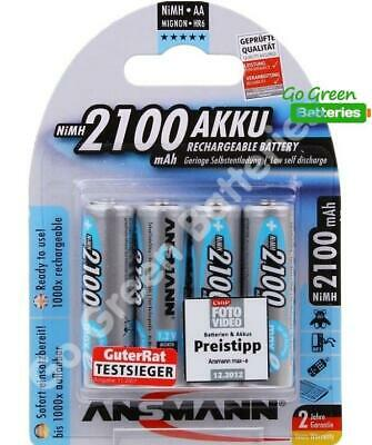 4x Ansmann AA 2100 mAh PRE/ STAY Charged NiMH Rechargeable Batteries HR6