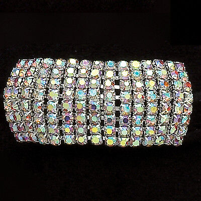 NEW DANCE PONYTAIL HOLDER ponies AB crystals 8 rows with 15 rhinestones per row.
