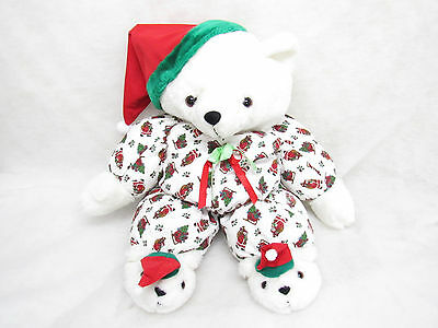 Vtg Christmas Teddy Bear Flannel Pjs Stuffed Plush Large 22""