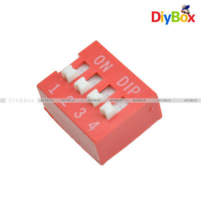 10pcs Red 2.54mm Pitch 4-Bit 4-Positions Way Slide Type DIP Switch Module NEW D