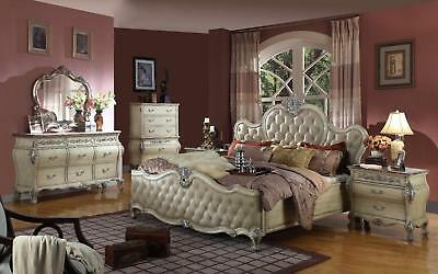 Mcferran RB8301 Bonded Leather Queen Size Bedroom set 3.pc Traditional Style