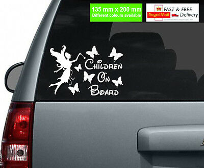 Children On Board Car Sticker Fairy and Butterflies /Different Colours Available