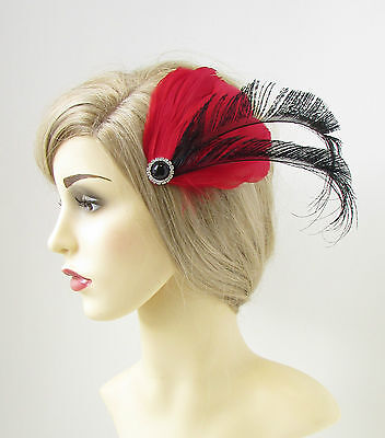 Red Black Silver Feather Fascinator Hair Clip Vintage 1920s Races Headpiece 189