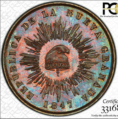 Finest & Only One Pcgs Pr64 1847 1/2 Decimo Cap & Rays 1/20 Reale Rainbow Toned