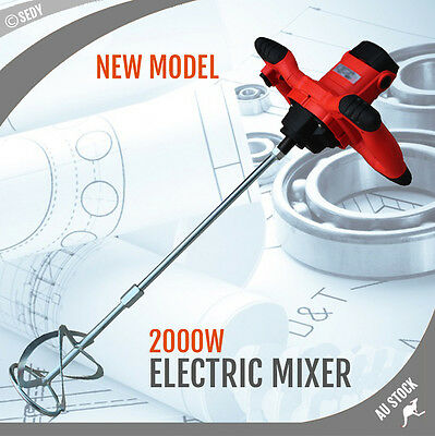 NEW Drywall Mortar Mixer 2000W Plaster Cement Tile Adhesive Render Paint Strong