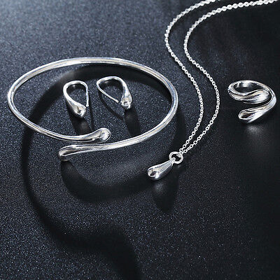 HOT Silver Plated Water Drop Bracelet Bangle Ring Necklace Earrings Jewelry Set