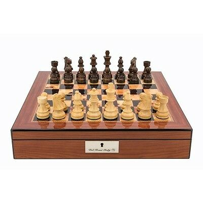 Dal Rossi Staunton Chess Set Walnut Finish Chess Box 16″ with Compartments