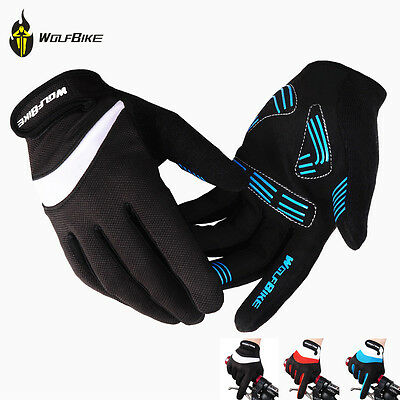 Mens Gel Full Finger Gloves Fitness Gym Wear Exercise Workout Training Cycling