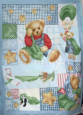 Blue Jean Teddy Blankie Bear,  Panda, Rabbit and friends cot quilt