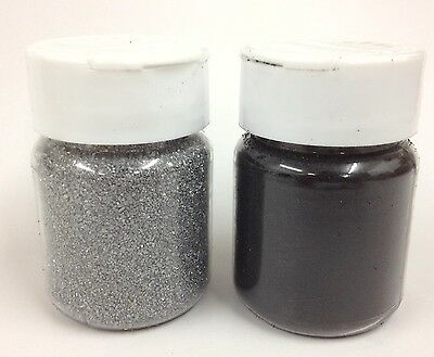 2 x 60ml  Ultra Thick Embossing Powder/Enamel/Crystals  - Silver & Black