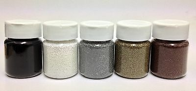 5 x 60ml Ultra Thick Embossing Powder/Enamel White, Gold, Bronze, Silver & Black
