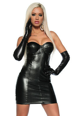 Sexy Kleid Wetlook Clubwear Minirock Abend Party Schwarz Lack Dessous Leder