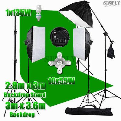 Photography Studio Softbox Lighting Boom Arm Light Green Backdrop Stand Kit Set
