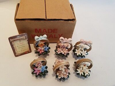 Box of 6 Capodimonte Dollhouse Miniature Porcelain Floral Flower Baskets Italy