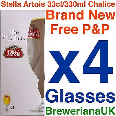 Set of 4 Stella Artois Glasses Chalice Gift Boxed Bigger Than Half Pint 33cl
