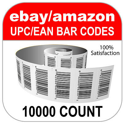 10000 UPC Numbers GS1 Barcodes Bar Codes Amazon eBay Plus Images for Labels