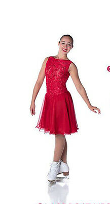 New Ice Dance Skating Dress Synchro Podium Lace Boat Neck Order 4 Wks Fab -P1144