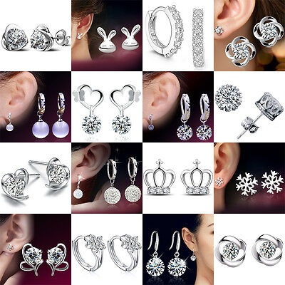 925 Sterling Silver Gifts Fashion Crystal Stud Earrings Studs Women Girl Jewelry