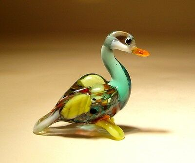 "Blown Glass ""Murano"" Art Figurine Small Colorful Bird DUCK"