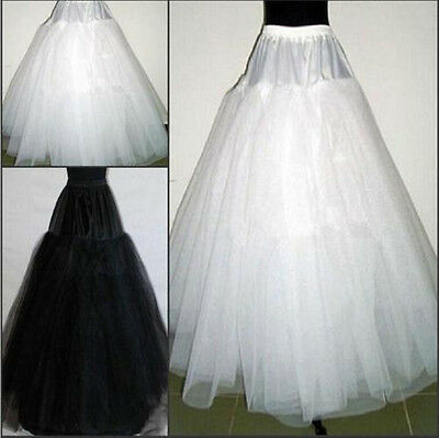 New 3 Layers Hoopless White/Black Bridal Petticoat Wedding Underskirt Crinoline