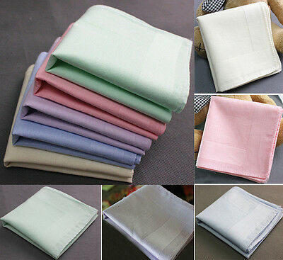 Women Ladies Cotton Solid Color Handkerchiefs Quadrate Hankies LOT
