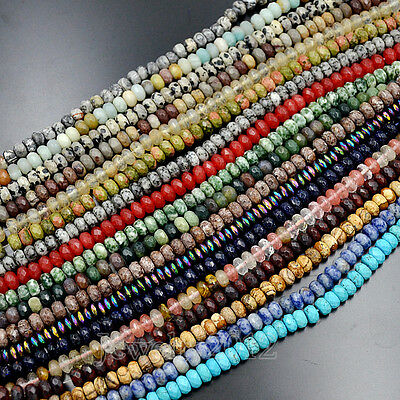 """5x8mm Faceted Natural Gemstones Rondelle Spacer Loose Beads 15.5"""" Lot Jewelry"""