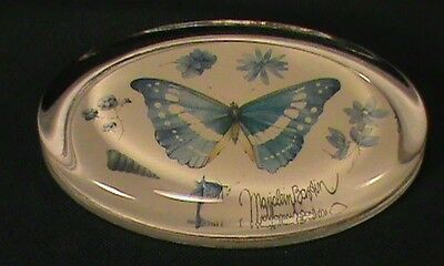 Marjolein Bastin Paper Weight Glass Oval Blue Butterfly Botanical Whimsical