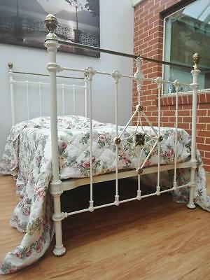 GENUINE Vintage ANTIQUE Cast IRON Victorian SINGLE Bed with MATTRESS & Cover SA