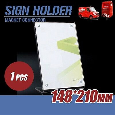 Sign Holder Acrylic Table Display Stand 14x21cm A5 w/ Magnets L-Style Price Tag