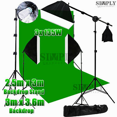 Photography Studio Softbox Lighting Boom Arm Light Stand Muslin Backdrop Kit Set