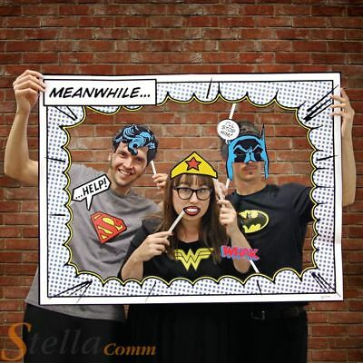 DC Comics Photo Booth Super Hero Picture Frame & 24 Character Props Party Fun